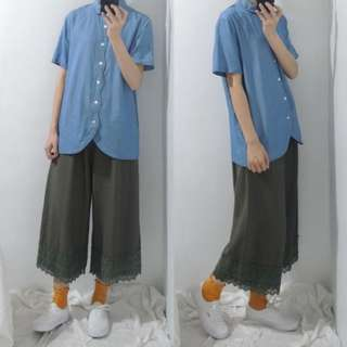 。error dot。日本波浪開襟弧型下襬丹寧襯衫