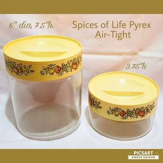 Vintage Spices of Life PYREX Glass Containers. Airtight.  Good Condition, no chip no crack. Both items for $15 Clearance Offer! Sms 96337309.