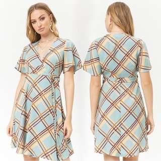 OshareGirl 07 美單格紋印花和服式綁帶造型連身洋裝連身裙