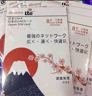 日本docomo8日無限上網卡