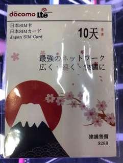 日本docomo10日無限上網卡