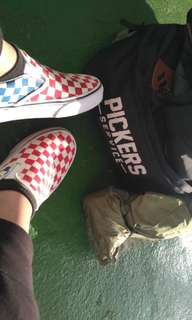 Vans Classic Slip On Checkerboard Red Blue