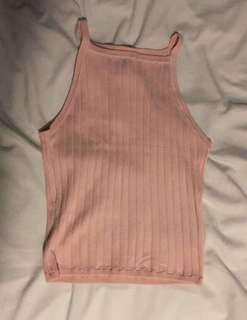 Pink Ribbed Halter Tank Top