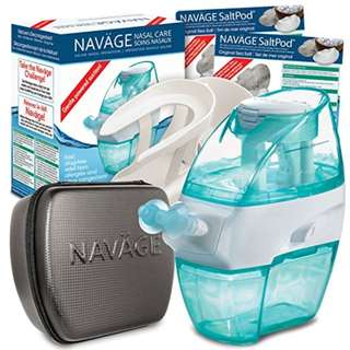 NEW Naväge Deluxe Bundle - Nasal Irrigation System Drug-Free Sinus & Allergy Relief (Nose Cleaner, Countertop Caddy, Travel Case & 40 SaltPods)