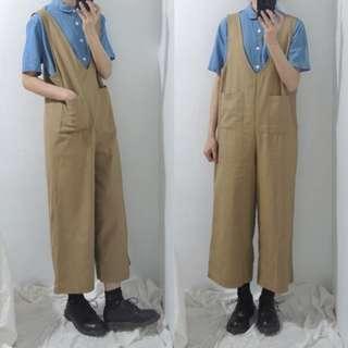 。error dot。工裝雙口袋連身寬褲