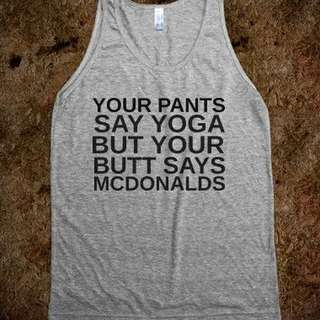 Yoga Butt Singlet Apparel Clothing Tshirt Tee