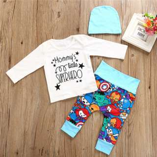 🚚 Newborn Baby Boys Superhero T-shirt Pants Leggings Hat 3pcs Outfits Clothes Set