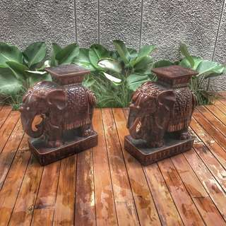 Kursi Gajah Keramik Ceramics Vintage Antik