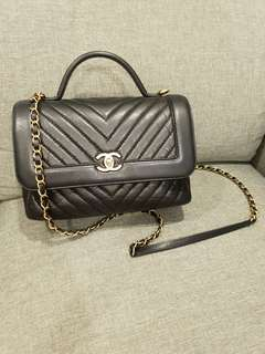 Pre-loved Authentic Chanel Chevron Flap Bag with Top Handle