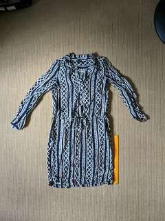 Blue pattern print dress from Malaysia