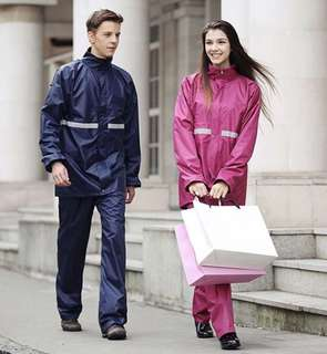Raincoat DOUBLE Layer Safety Riding Raincoat Jacket with Pant with Reflective Stripes