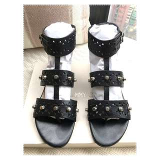 Jimmy Choo    leather studs flat sandals shoes  *** Size 36-1/2 ***