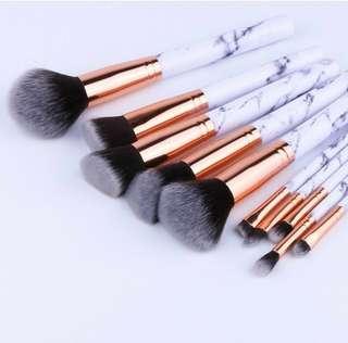 10 Pc Marble Make Up Brushes