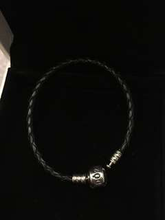 Pandora black woven leather Bracelet single 單圈 皮革 編織 手繩