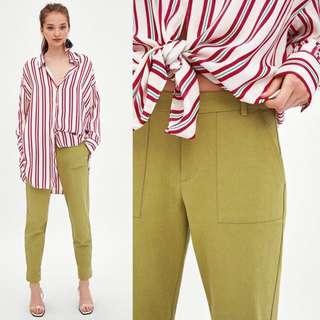 OshareGirl 07 西班牙女士百搭貼口袋卷邊女褲休閒褲直筒長褲