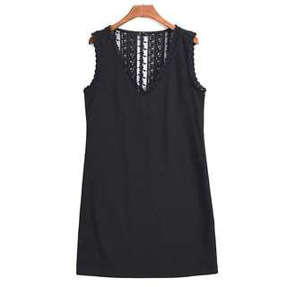 OshareGirl 07 歐美女士純色蕾絲拼接連身洋裝連身裙