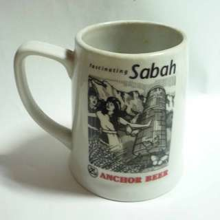 ANCHOR BEER Ceramic Stein Mug Fascinating SABAH MALAYSIA 1980's RARE