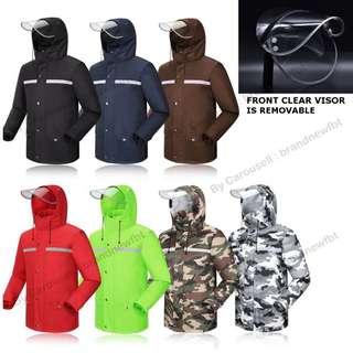 DOUBLE Layer Safety Riding Raincoat Jacket with Pant with Reflective Stripes motorbike raincoat