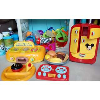 Cooking pretend play toys authentic Winnie the Pooh stove, Mickey mouse fridge, with sounds, many crockery, utensils