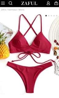 ZAFUL Red Cami Cross Back Bikini Set