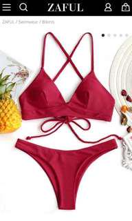 ZAFUL Red Cami Cross Back Bikini Set