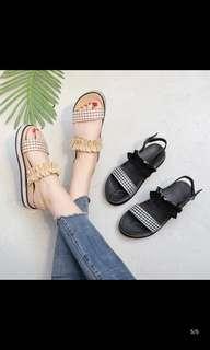 🚚 🌸時尚復古格子涼鞋 鬆糕鞋 蛋糕鞋 羅馬鞋拖鞋平底鞋女鞋