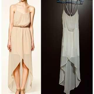 Zara TRF Hi-Low White Dress