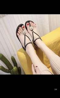 🚚 🌸珍珠夾趾羅馬平底鞋涼鞋女鞋