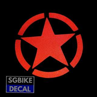 Red Military Star Reflective