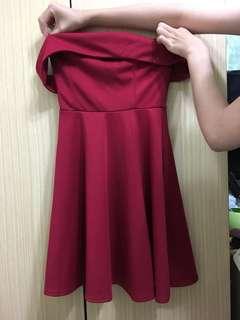 🚚 Air space 平口洋裝 (紅)