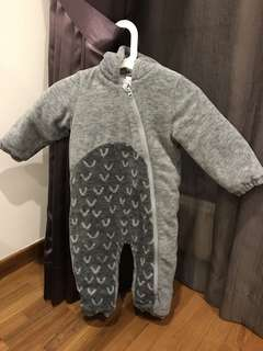 Grey Dinosaur fleece suit