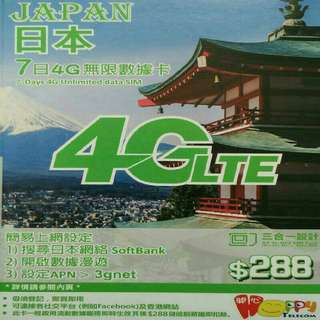 日本 數據卡 7天 4G 1.5GB +128kbps 無限數據 上網卡 SIM CARD