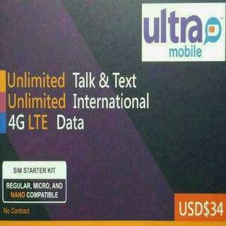 美國 數據卡 30天 4G 4GB +無限數據 上網卡  +無限當地/香港通話 SIM CARD