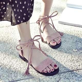 🚚 韓版綁帶麂皮羅馬鞋