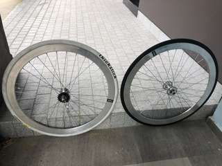 Chrome Fixie rim front and back