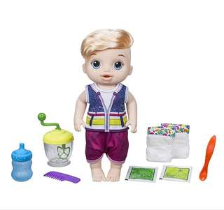 BN Baby Alive Boy Sweet Spoonfuls Blonde Baby Doll Toy Set with Accessories