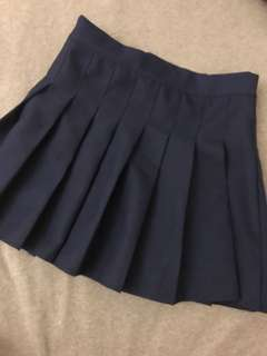 🚚 深藍可愛百褶裙