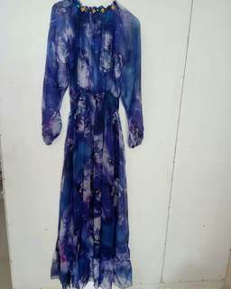 Silk Maxi Dress Floral Violet Fit to L