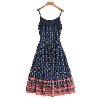 OshareGirl 07 歐美女士蕾絲幾何圖騰拼接復古造型綁帶連身裙洋裝