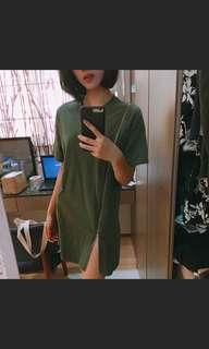 海草綠拉鏈造型長版上衣/洋裝