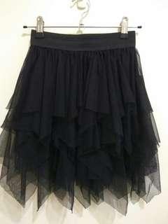 🚚 黑色 不規則層次 雪紡紗裙/短裙/澎裙