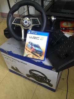 World Rally Championship 6 game ps4 & Venom Hurricane steering wheel with pedals For ps4 / ps3