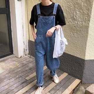 🚚 韓國訂製寬鬆丹寧牛仔吊帶褲