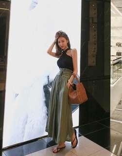 🚚 韓版💋時尚尖端亞麻高腰綁帶寬褲