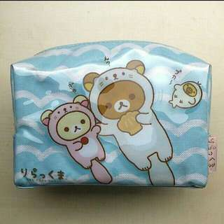 [LARGE DISCOUNT] RARE Authentic Japanese San-X Rilakkuma Sea Otter Series Large Waterproof Pencil Pouch, Large Makeup Bag, MYSTERY FREE GIFTS