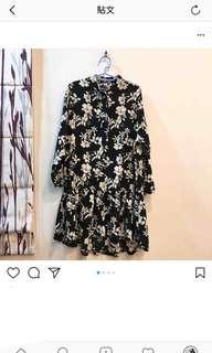 正韓花卉魚尾裙擺洋裝