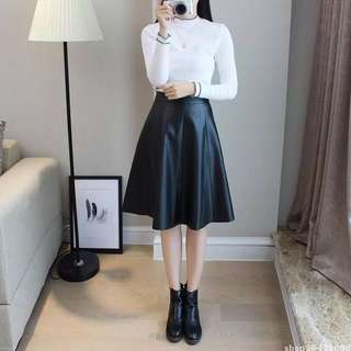 Preloved Leather PU Midi Skirt