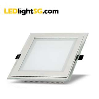 12W LED Glass Panel Downlight 1yr Warranty Taiwan Chip & Driver Square (White / Warm White)