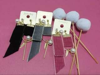 🚚 珍珠絨布緞帶耳環(可改夾式)