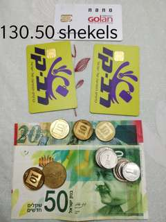 Israeli shekels, 2 transportation card and Israel sim card